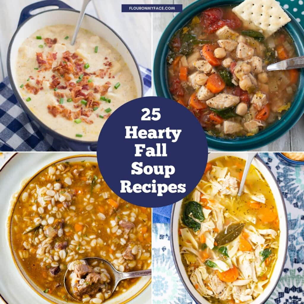 4 collage photos of an example of hearty fall soup recipes