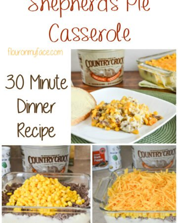 Shepherd's Pie Casserole recipe. Get dinner on the table in thirty minutes via flouronmyface.com