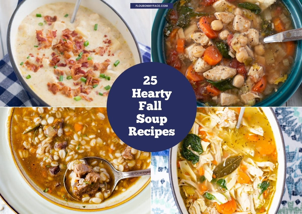 4 photo collage of hearty fall soup recipes