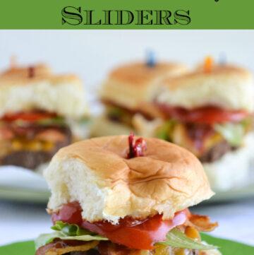 Holiday slider recipe, bacon cheeseburger sliders, hawaiian rolls, slider recipes,