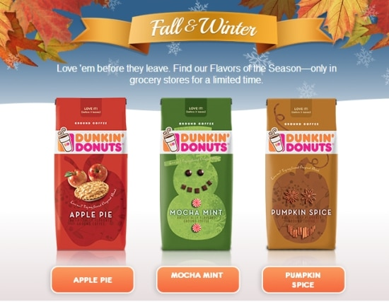 Dunkin Donuts Coffee, Seasonal Flavors,