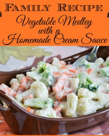 progressive dinner recipe, vegetable side dish recipe, vegetable medley, homemade cream sauce recipe