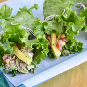 Tuna Avocado Lettuce Wrap on a serving tray