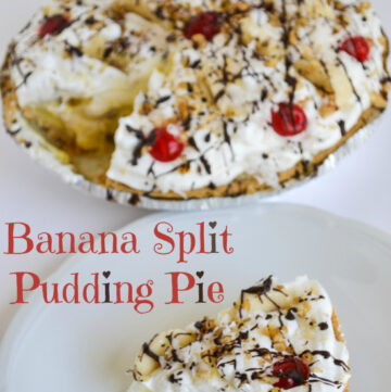 No Bake Frozen Banana Split Pie on a plate