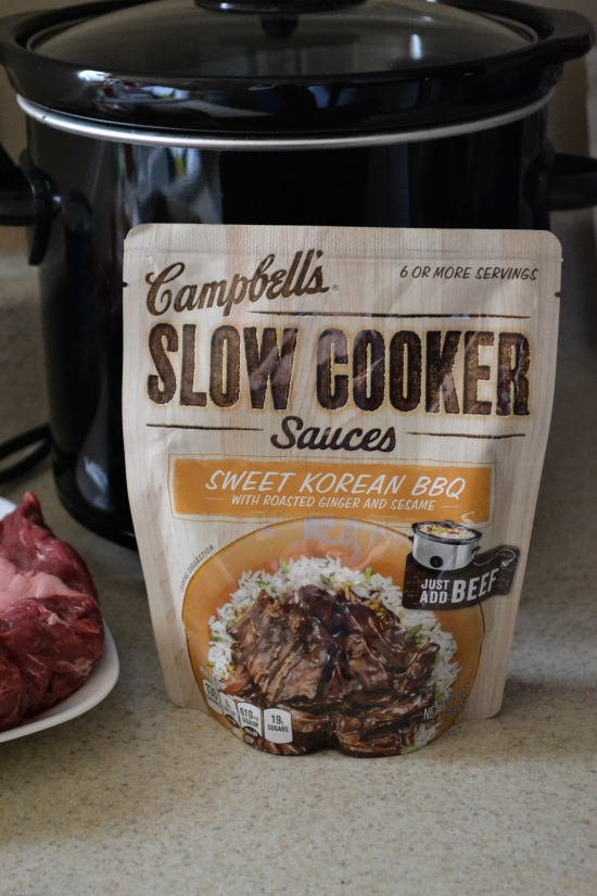 Campbell's Slow Cooker Sauce recipe, easy slow cooker recipe, easy Korean BBQ tacos, Pineapple Korean BBQ Taco Recipe, easy crockpot recipes