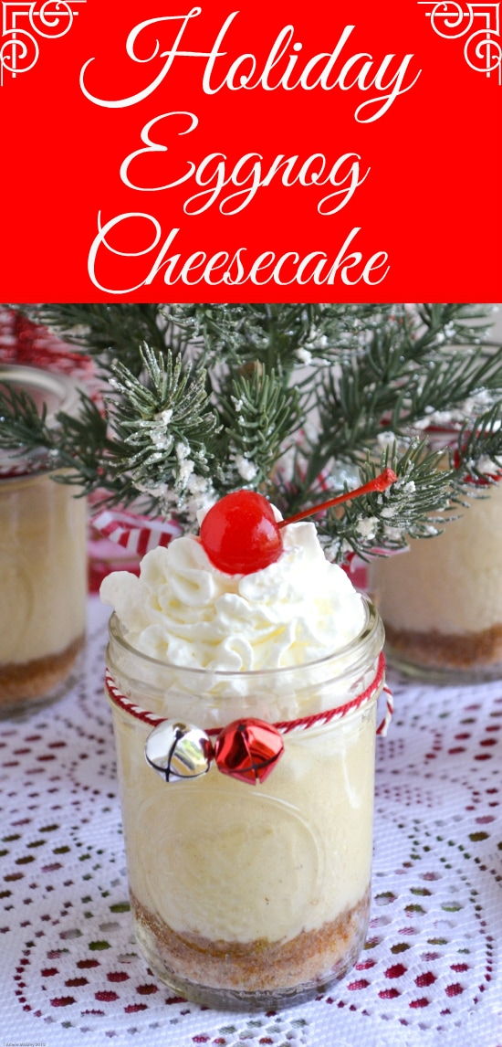 Holiday Eggnog Cheesecake in a Jar Recipe via flouronmyface.com