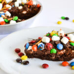 Baking, M&M's, Baking with Chocolate, Party ideas, Birthday Pie recipe, Brownie pie, frosted brownie recipe