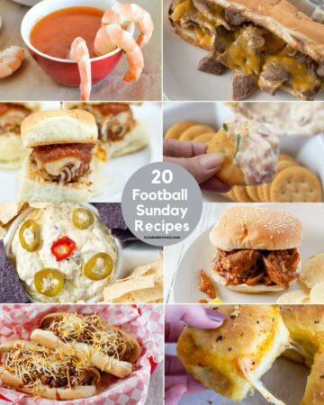 Collage preview of 20 recipes for football Sunday.