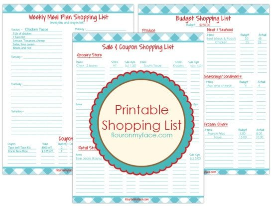 Free Printables Weekly Meal PlanningFlour On My Face