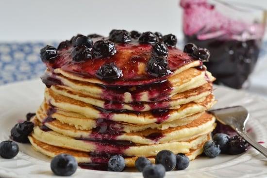 Buttermilk Pancakes with Homemade Blueberry Syrup via flouronmyface.com