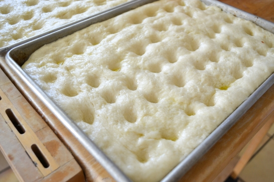 docking fresh dough, docked focaccia dough, homemade focaccia, how to make focaccia bread