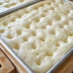 docking fresh dough, docked focaccia dough, homemade focaccia, how to make focaccia bread