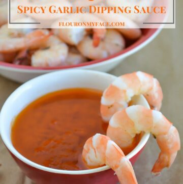 Boiled Shrimp and Spicy Garlic Dipping Sauce via flouronmyface.com best way to eat fresh Florida Gulf Pink Shrimp
