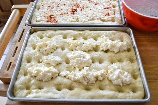 white cheddar focacci, onion cheddar focaccia, focaccia appetizer, party food recipes