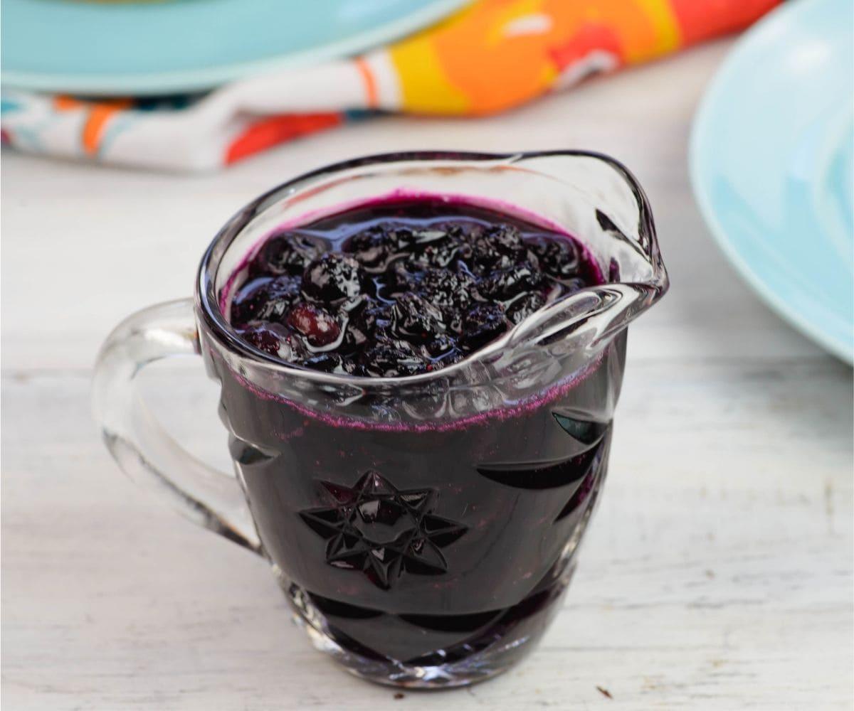 Homemade blueberry pancake syrup.