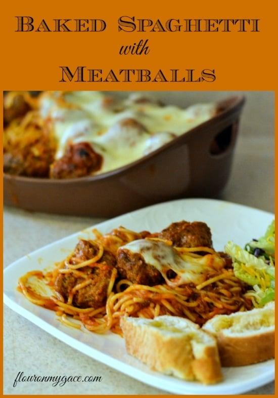 Baked Spaghetti Recipe, Baked Spaghetti Meatballs, HOmemade Meatball Recipe, Easy Baked Spaghetti, Easy Meatballs, Family Recipes