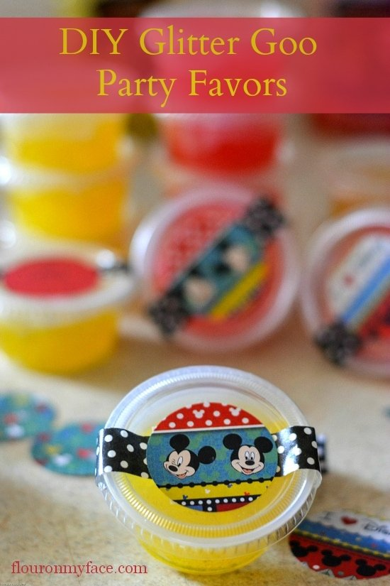 Glitter Slime, DIY Glitter Goo Party Favors, DIY Party Favors, DIY Glitter Goo, Kids Party Ideas, Kid party favors, mickey mouse party favors, diy disney party,