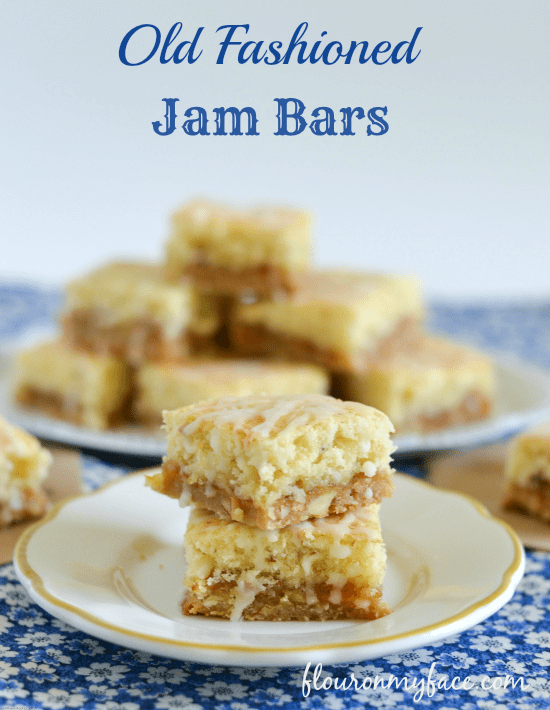 old fashion jam bars, cake bars, jam bar recipe, peach almond jam bars recipe