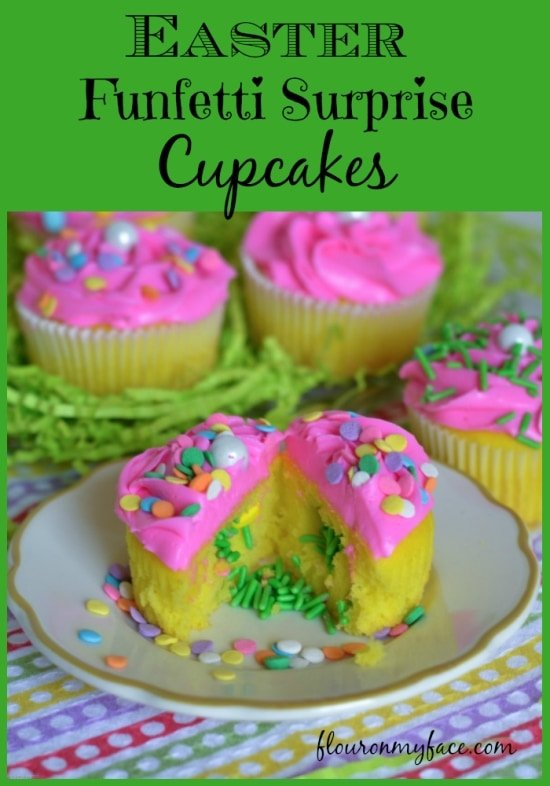 Easter Cupcake Ideas, Easy Easter Cupcakes, surprise Funfetti cupcakes, lemon cupcakes