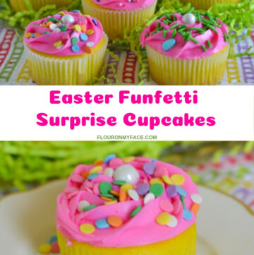 Easter Cupcakes Funfetti Surprise filled with sprinkles