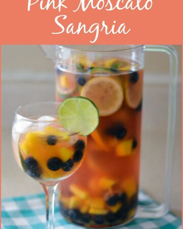 Pink Moscato Sangria in a pitcher.