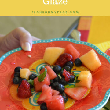 Plate with a serving of summer fruit salad