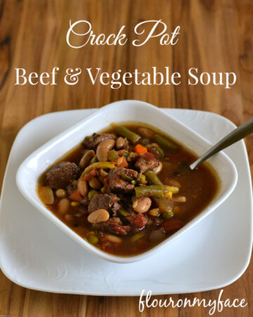 Crock Pot Beef Vegetable Soup recipe via flouronmyface.com