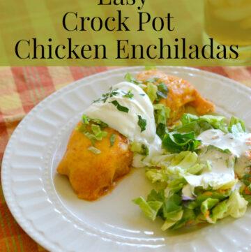 Easy Crock Pot Enchiladas via flouronmyface.com