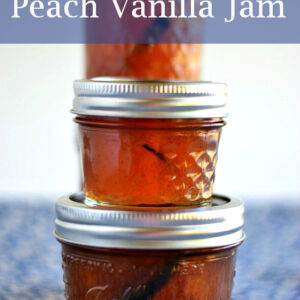 3 stacked jars filled with peach vanilla jam.