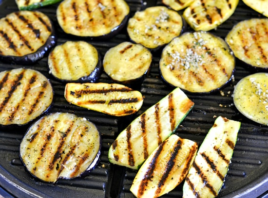 Grilled eggplant cooking on an electric grill