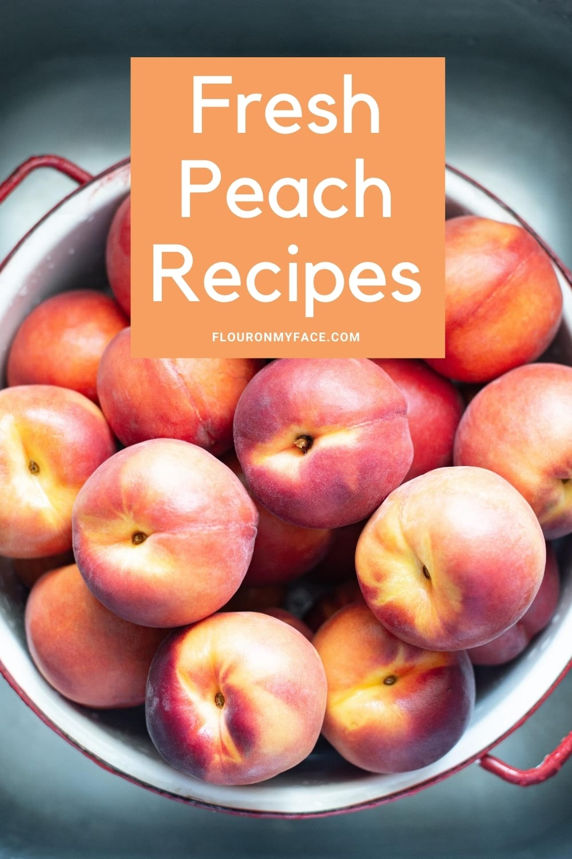 Whole Fresh Peaches in a colander