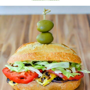 Grilled Vegetable Sandwich with fresh eggplant and a spicy chili-sauce mayonnaise