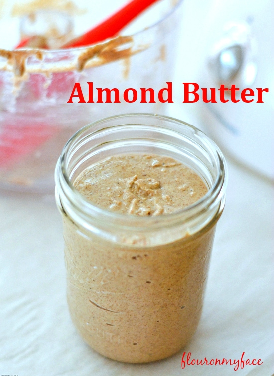How to make healthy homemade almond butter at home in a food processor or high powered blender via flouronmyface.com