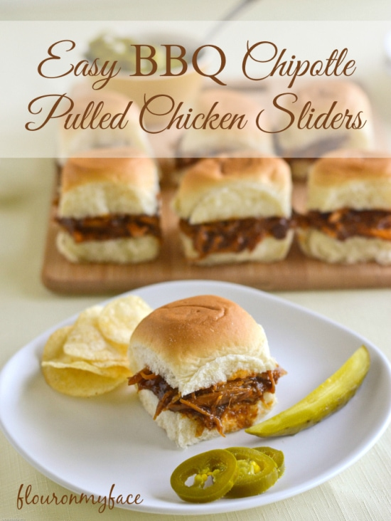Easy BBQ Chipotle Pulled Chicken Sliders, tailgaitn recipes, easy chicken sliders, chipotle chicken