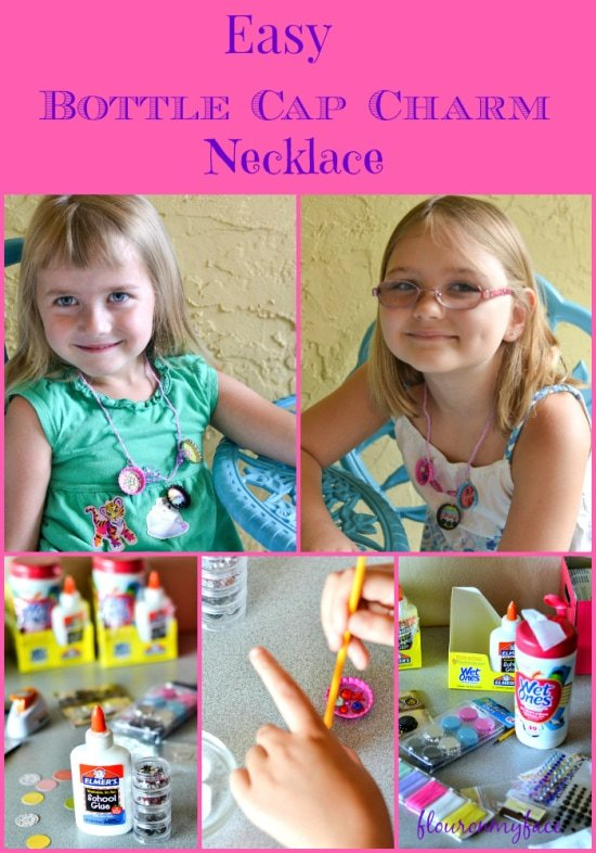 Easy Bottle Cap Charm Necklace #CraftandCleanUp