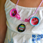Easy Bottle Cap charms, easy crafts for kids, bottle caps charm necklace instructions