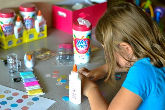 Easy Bottle Cap Necklace Charms, Elmer's Glue, Wet Ones wipes, back to school, summer crafts for kids