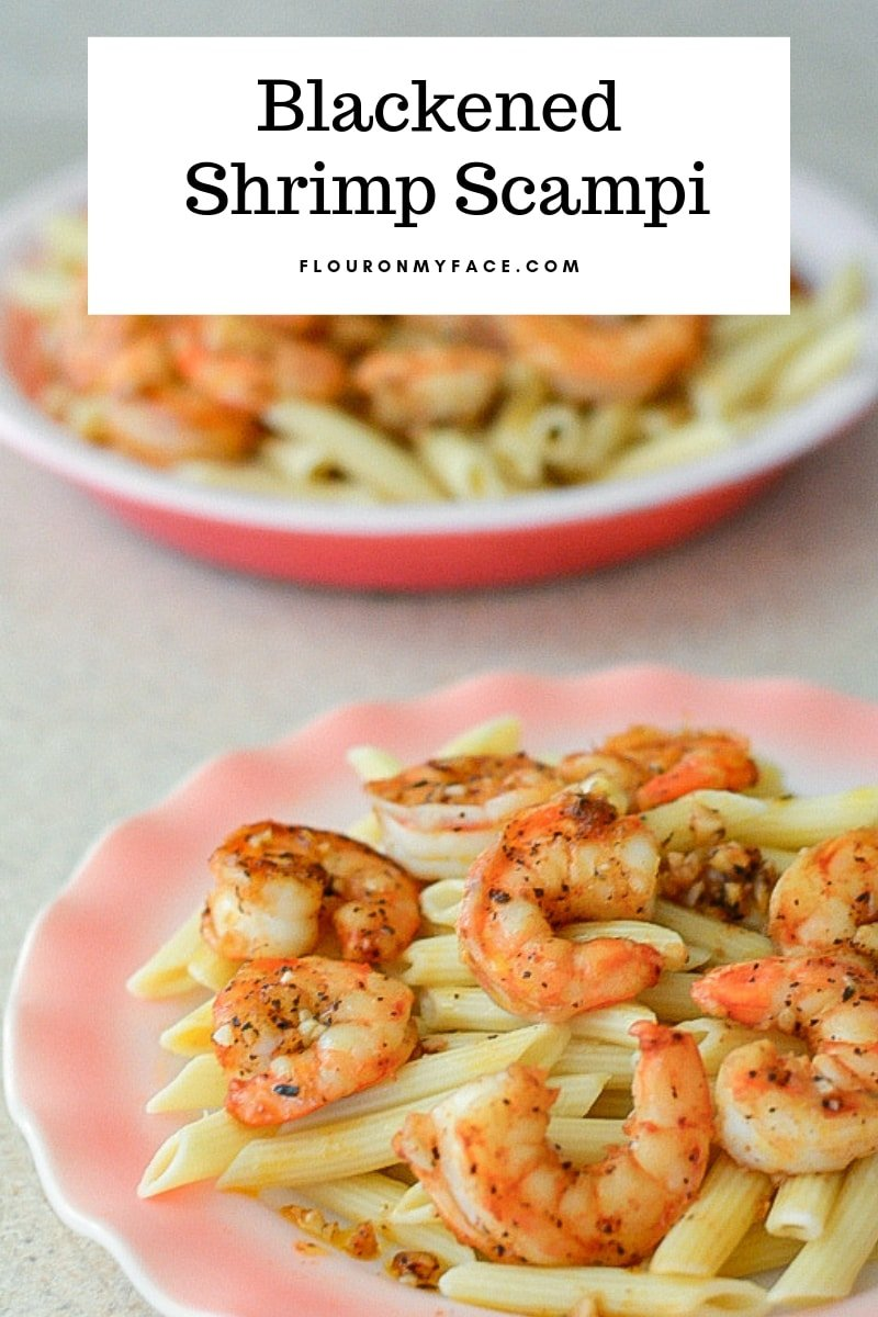 Serving of Blackened Shrimp Scampi