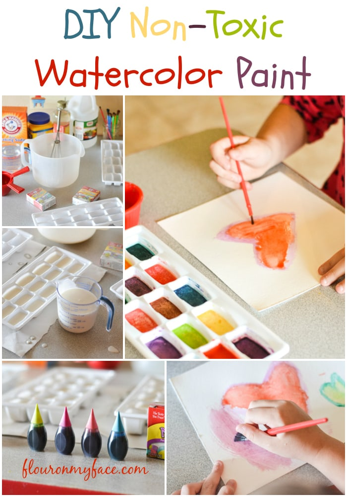 Diy homemade Non-Toxic Water Color Paint via flouronmyface.com
