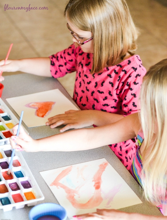 Painting with homemade, non toxic watercolor paints via flouronmyface.com