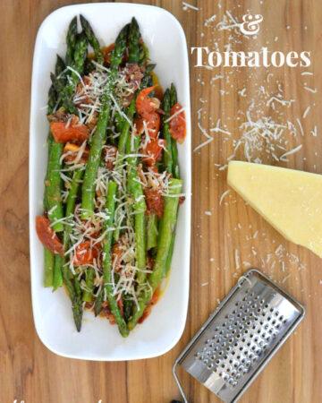 Sauteed Asparagus and Tomatoes recipe via flouronmyface.com