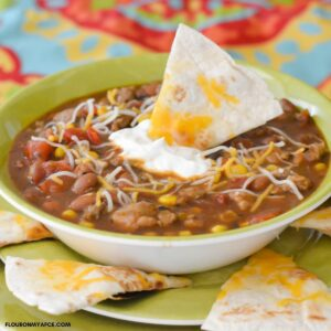 A bowl filled with turkey chili.