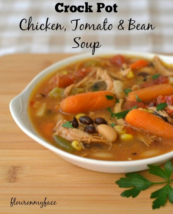 Crock Pot Chicken, Tomato and Bean Soup, recipe via flouronmyface.com