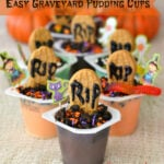 Easy Halloween Graveyard Pudding Cups #SnackPackMixins