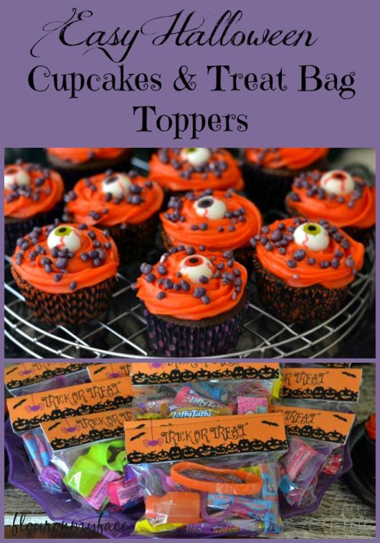 Easy Halloween Eye Ball Cupcakes and a free Halloween Treats Bag Topper printable via flouronmyface.com
