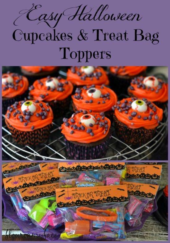 Easy Halloween Eye Ball Cupcakes and a free Halloween Treats Bag Topper printable via flouronmyface.com
