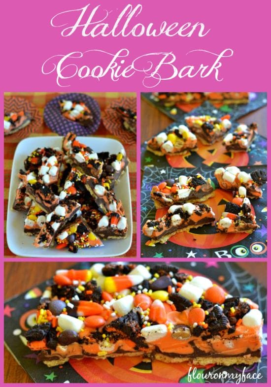 Easy Halloween Cookie Bark recipe via flouronmyface.com