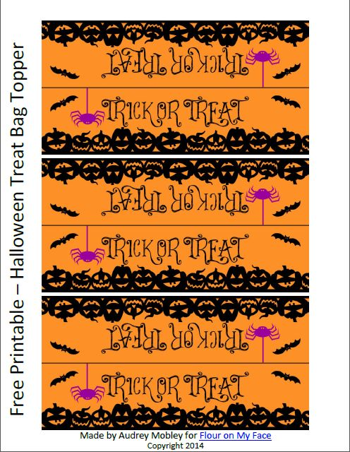 FREE Halloween Treat Bag Toppers Printable via flouronmyface.com