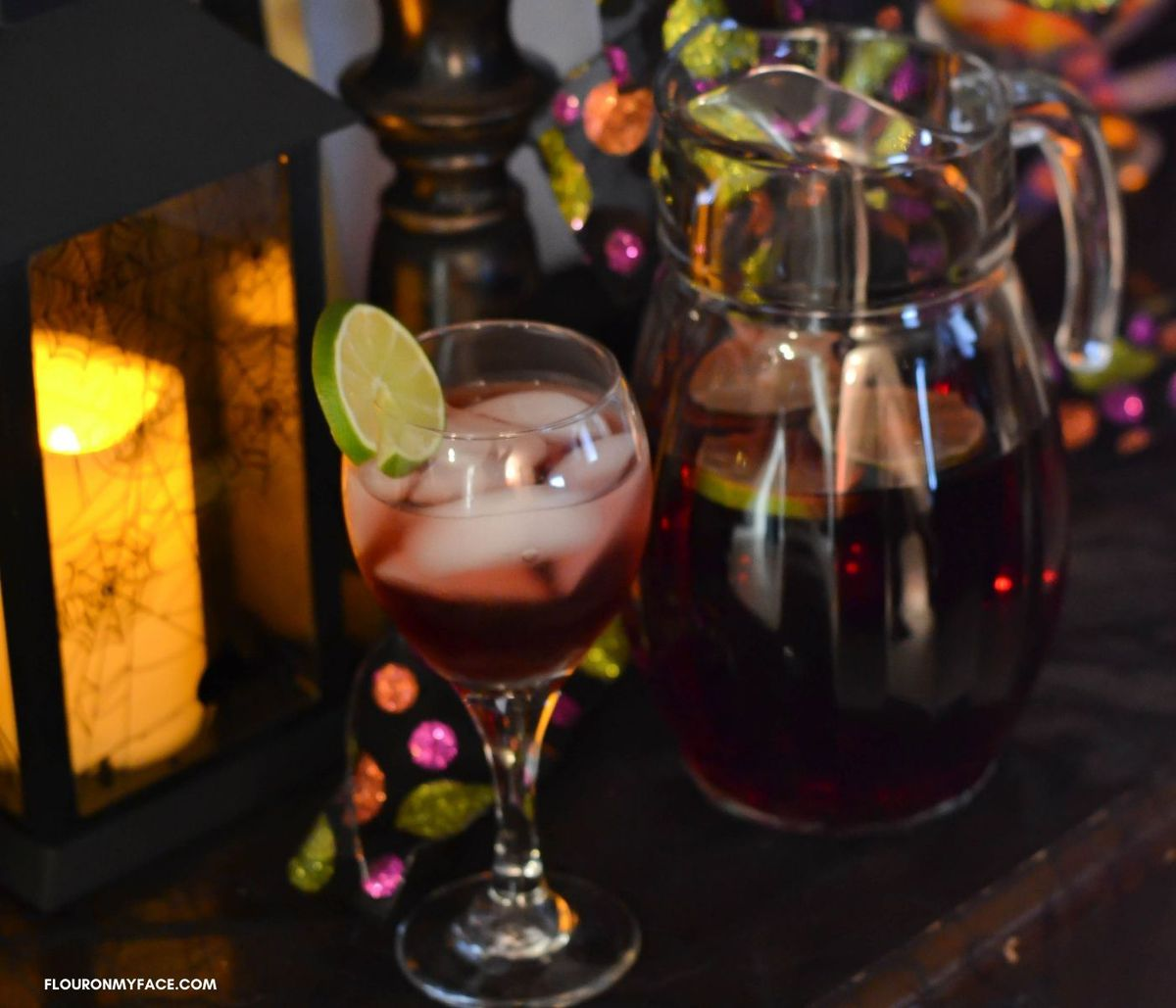 Wine cocktail for Halloween on a table.