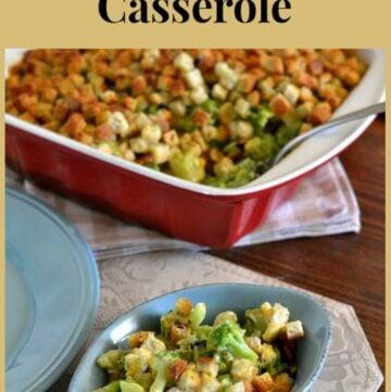 Old Fashioned Broccoli Casserole recipe red casserole dish on the table